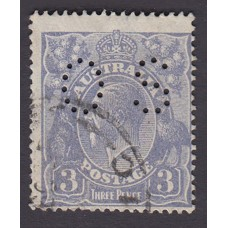 Australian    King George V    3d Blue   Single Crown WMK  Perf O.S. Plate Variety 2R50..