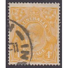 Australian    King George V    4d Orange   Single Crown WMK  Plate Variety 1R11..