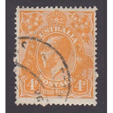 Australian    King George V    4d Orange   Single Crown WMK  Plate Variety 1R57..