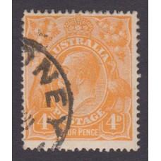 Australian    King George V    4d Orange   Single Crown WMK  Plate Variety 1L43..