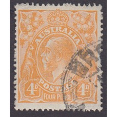 Australian    King George V    4d Orange   Single Crown WMK  Plate Variety 2L22..