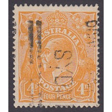 Australian    King George V    4d Orange   Single Crown WMK  Plate Variety 2L30..