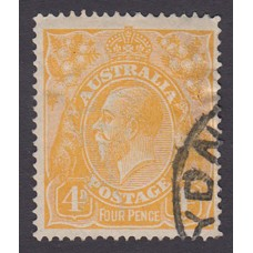 Australian    King George V    4d Orange   Single Crown WMK  Plate Variety 1L53..
