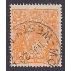 Australian    King George V    4d Orange   Single Crown WMK  Plate Variety 1R3..