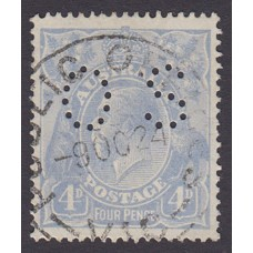 Australian    King George V    4d Blue   Single Crown WMK  Perf O.S. Plate Variety 1R3..