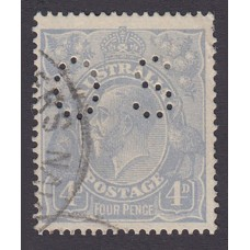 Australian    King George V    4d Blue   Single Crown WMK  Perf O.S. Plate Variety 1L11..