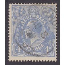 Australian    King George V    4d Blue   Single Crown WMK  Plate Variety 1R3..