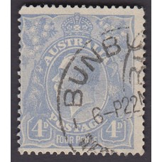 Australian    King George V    4d Blue   Single Crown WMK  Plate Variety 1R1