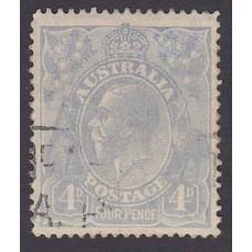 Australian    King George V    4d Blue   Single Crown WMK  Plate Variety 1R1..