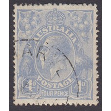 Australian    King George V    4d Blue   Single Crown WMK  Plate Variety 1R52