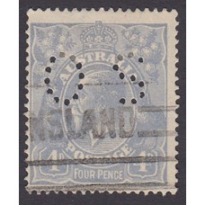 Australian    King George V    4d Blue   Single Crown WMK  Perf O.S. Plate Variety 2L38