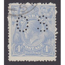 Australian    King George V    4d Blue   Single Crown WMK  Worn Plate at Right Frame  Perf O.S. Late Cooke Printing