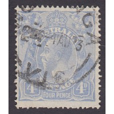 Australian    King George V    4d Blue   Single Crown WMK  Plate Variety 2L4..