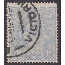 Australian    King George V    4d Blue   Single Crown WMK  Plate Variety 2R48..