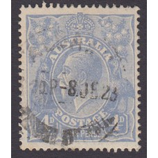 Australian    King George V    4d Blue   Single Crown WMK  Plate Variety 2R14..