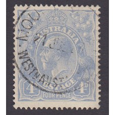 Australian    King George V    4d Blue   Single Crown WMK  Plate Variety 2R14