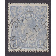 Australian    King George V    4d Blue   Single Crown WMK  Plate Variety 2R23..