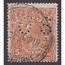 Australian    King George V    5d Chestnut   Single Crown WMK  Single Line Perf  Perf O.S. Plate Variety 1R18