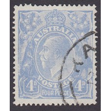 Australian    King George V    4d Blue   Single Crown WMK  Worn Cliche Late Cooke Printing..