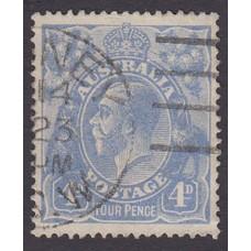 Australian    King George V    4d Blue   Single Crown WMK  Plate Variety 1R57..