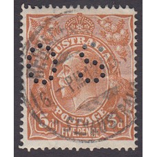 Australian    King George V    5d Chestnut   Single Crown WMK  Single Line Perf  Perf O.S. Plate Variety 1L28