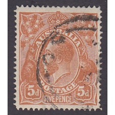 Australian    King George V    5d Chestnut   Single Crown WMK  Single Line Perf Plate Variety 1L50..