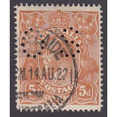 Australian    King George V    5d Chestnut   Single Crown WMK  Single Line Perf  Perf O.S. Plate Variety 1R3