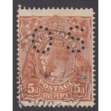 Australian    King George V    5d Chestnut   Single Crown WMK  Single Line Perf  Perf O.S. Plate Variety 1L4