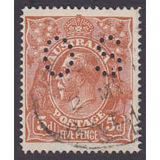 Australian    King George V    5d Chestnut   Single Crown WMK  Single Line Perf  Perf O.S. Plate Variety 1R56