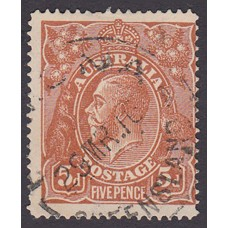Australian    King George V    5d Chestnut   Single Crown WMK  Single Line Perf  Plate Variety 1R27