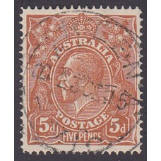 Australian    King George V    5d Chestnut   Single Crown WMK  Single Line Perf Plate Variety 1R49..