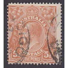 Australian    King George V    5d Chestnut   Single Crown WMK  Single Line Perf  Plate Variety 1R60