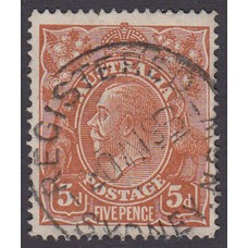 Australian    King George V    5d Chestnut   Single Crown WMK  Single Line Perf  Plate Variety 1R17