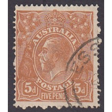 Australian    King George V    5d Chestnut   Single Crown WMK  1st State Plate Variety 1R50..