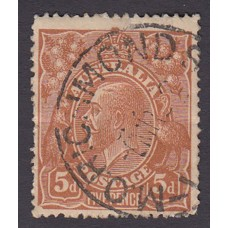 Australian    King George V    5d Chestnut   Single Crown WMK  2nd State Plate Variety 1R42..