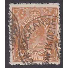 Australian    King George V    5d Chestnut   Single Crown WMK  4th State Plate Variety 1R59..