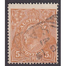 Australian    King George V    5d Chestnut   Single Crown WMK  2nd State Plate Variety 1R60..