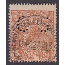 Australian    King George V    5d Chestnut   Single Crown WMK  Perf O.S. Plate Variety 1L35..