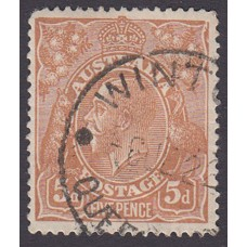 Australian    King George V    5d Chestnut   Single Crown WMK  Plate Variety 1L13..
