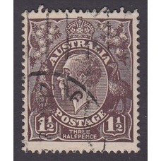 Australian    King George V   1½d Penny Half Pence Black Brown   Single Crown WMK Plate Variety 1R36..