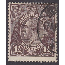 Australian    King George V   1½d Penny Half Pence Black Brown   Single Crown WMK Plate Variety 1L32..