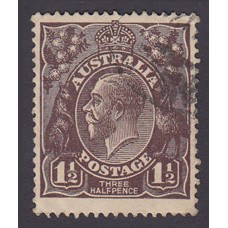 Australian    King George V   1½d Penny Half Pence Black Brown   Single Crown WMK Plate Variety 1R24..