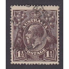 Australian    King George V   1½d Penny Half Pence Black Brown   Single Crown WMK Plate Variety 2L34..