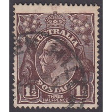 Australian    King George V   1½d Penny Half Pence Black Brown   Single Crown WMK Plate Variety 3L27..