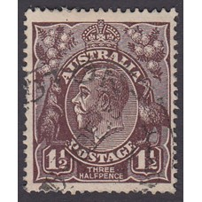 Australian    King George V   1½d Penny Half Pence Black Brown   Single Crown WMK Plate Variety 3L32..