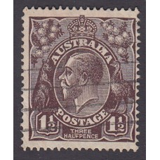 Australian    King George V   1½d Penny Half Pence Black Brown   Single Crown WMK Plate Variety 3R30..