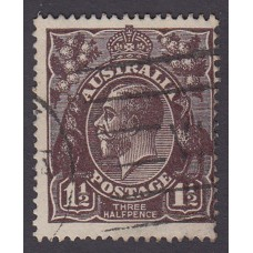 Australian    King George V   1½d Penny Half Pence Black Brown   Single Crown WMK Plate Variety 3R42..
