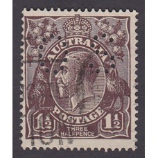 Australian    King George V   1½d Penny Half Pence Black Brown   Single Crown WMK Perf O.S. Plate Va..