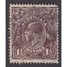 Australian    King George V   1½d Penny Half Pence Black Brown   Single Crown WMK Plate Variety 3R54..