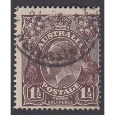 Australian    King George V   1½d Penny Half Pence Black Brown   Single Crown WMK 2nd State Plate Va..